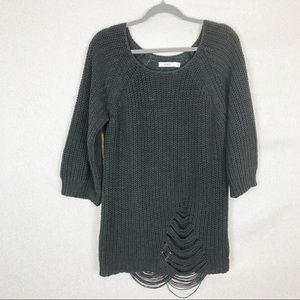 RVCA Scoop Neck Distressed Black Knit Sweater